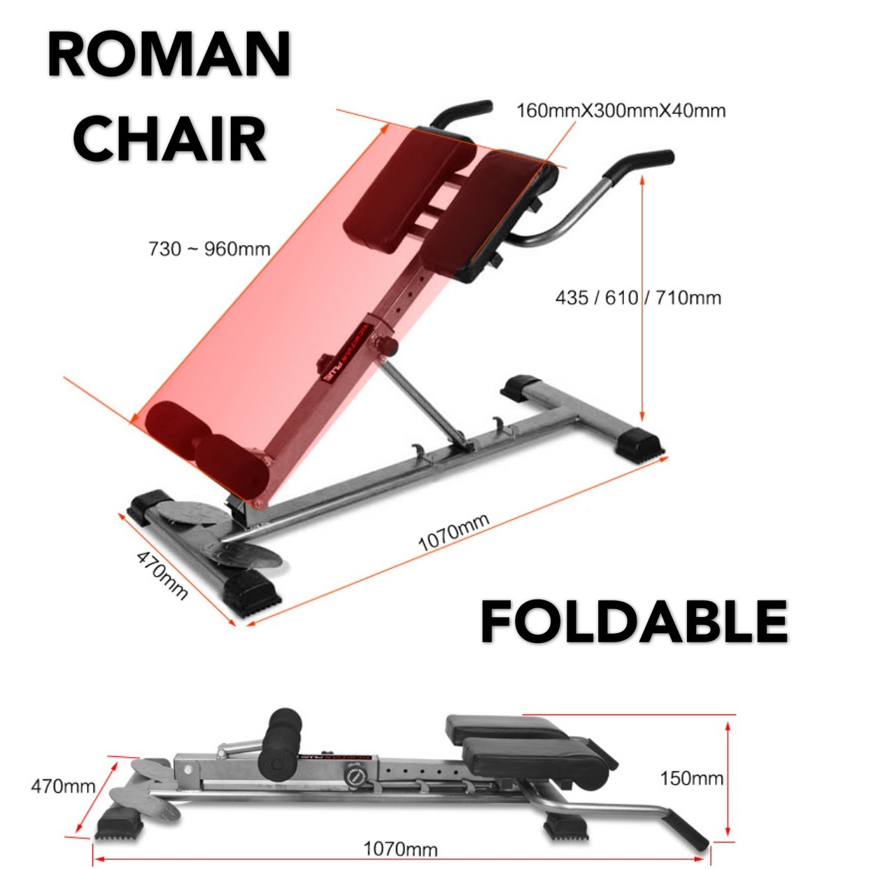 Hyper Extension 50 Degree Lower Back Adjustable Bench