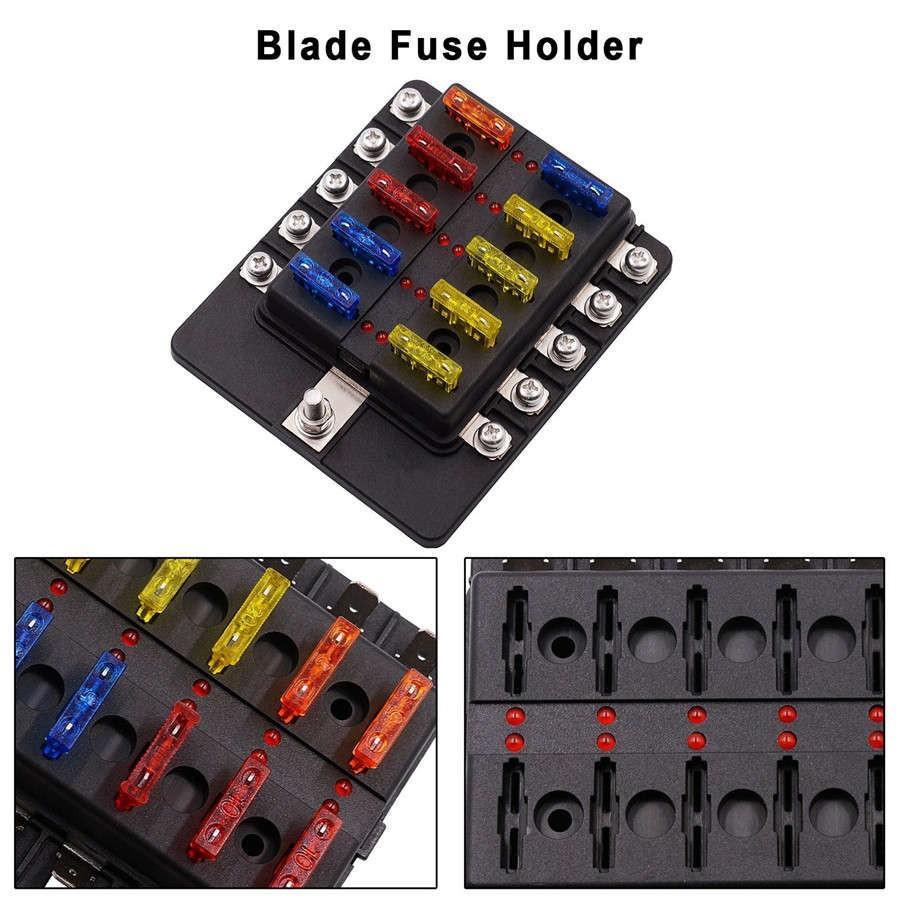 Car Marine 10 Way Fuse Box Blade Holder With Led Indicator Standard Block For 12 24v