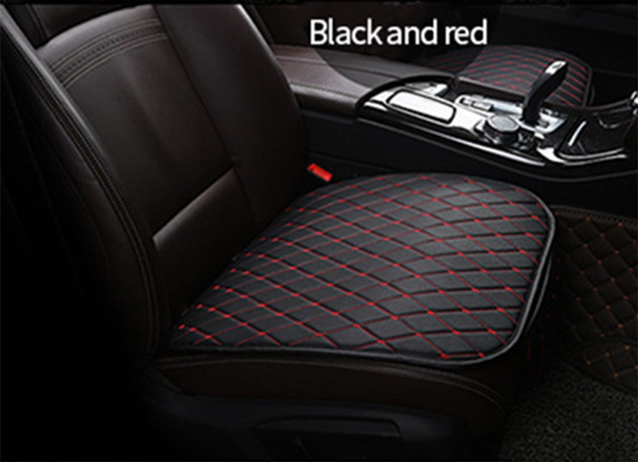 CAR PASS Universal Four Season Mat Car Seat Cushion Cover 1PC Black with Red for Car Truck SUV Black with red